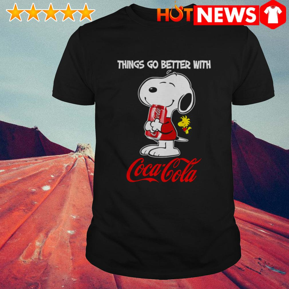 The Peanuts Snoopy and Woodstock things go better with Coca-Cola shirt