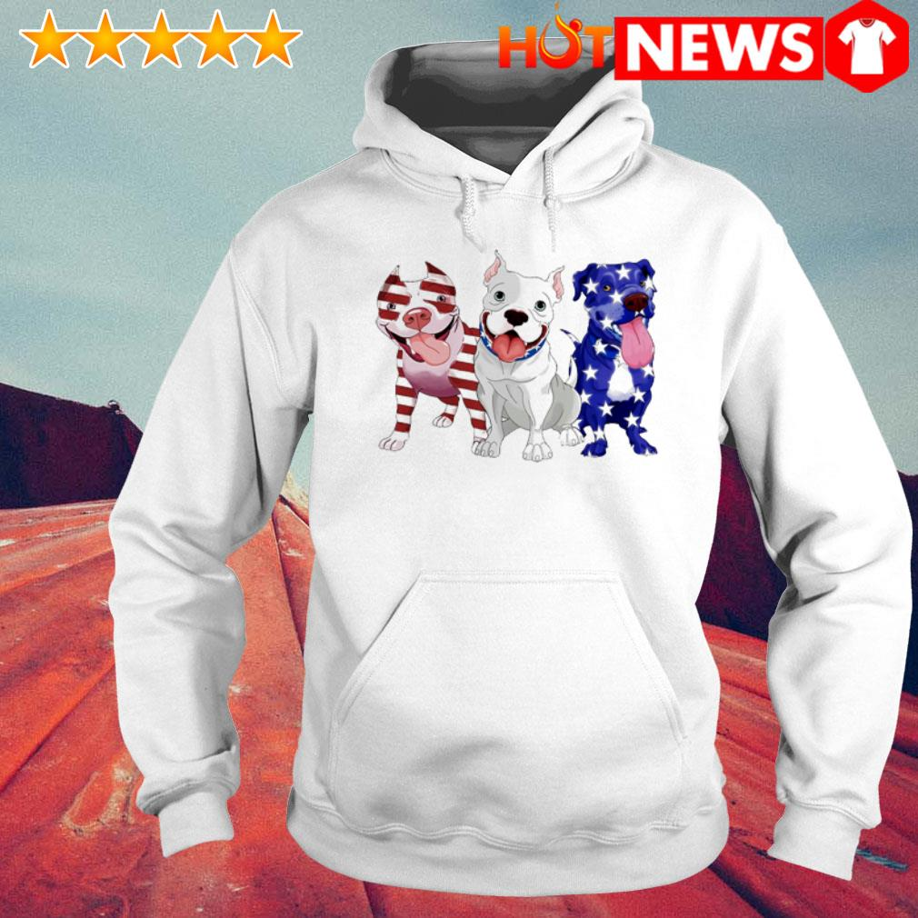 Pitbulls red white and blue American flag 4th of July Hoodie