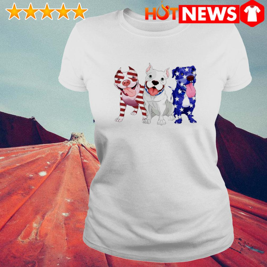 Pitbulls red white and blue American flag 4th of July Ladies Tee