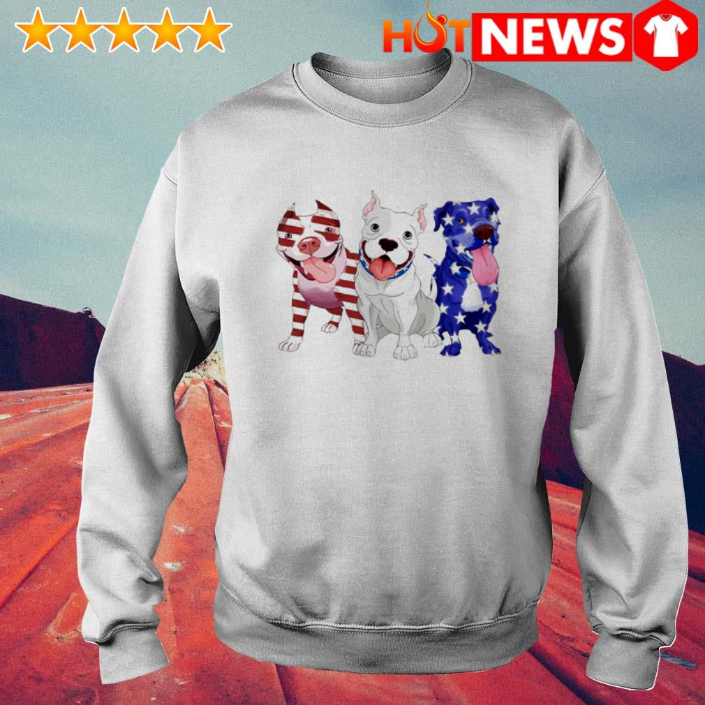Pitbulls red white and blue American flag 4th of July Sweater