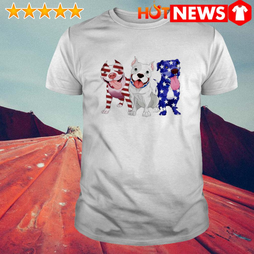Pitbulls red white and blue American flag 4th of July shirt