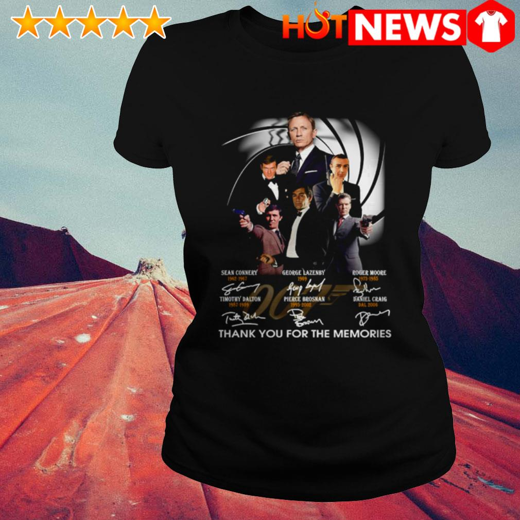 Thank you for the memories James Bond 007 characters signatures Ladies Tee