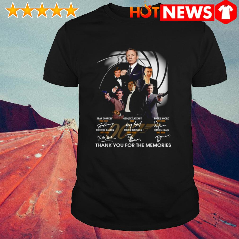 Thank you for the memories James Bond 007 characters signatures shirt