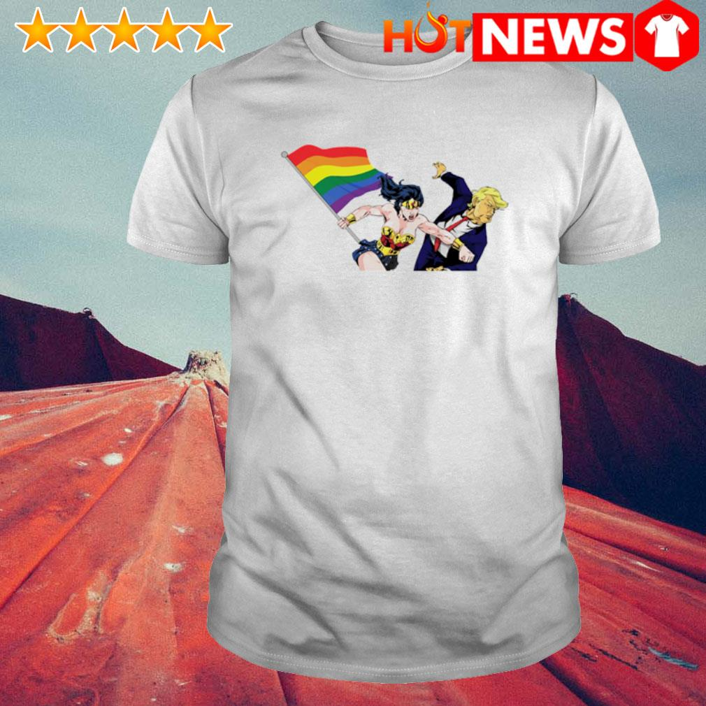 Trump and Wonder Woman holding LGBT flag shirt