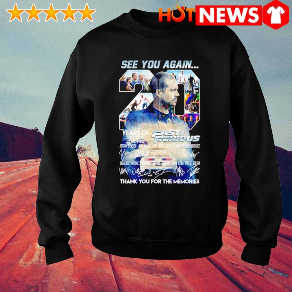 20 years of Fast and Furious 2001 2021 see you again thank you for the memories s sweater