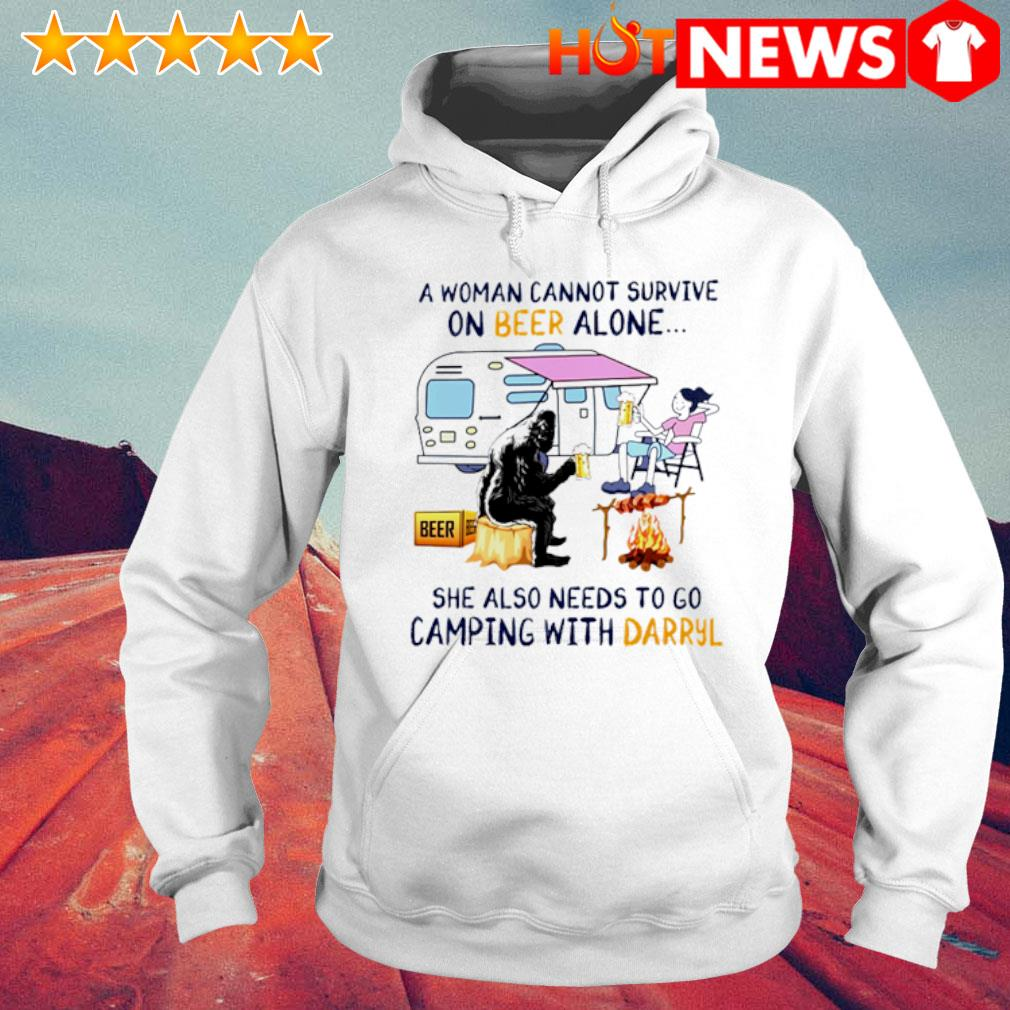 A woman cannot survive on beer alone she also needs to go camping with Darryl s 6 HNT Hoodie White