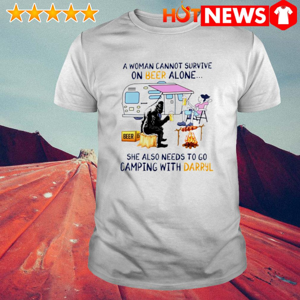 A woman cannot survive on beer alone she also needs to go camping with Darryl shirt