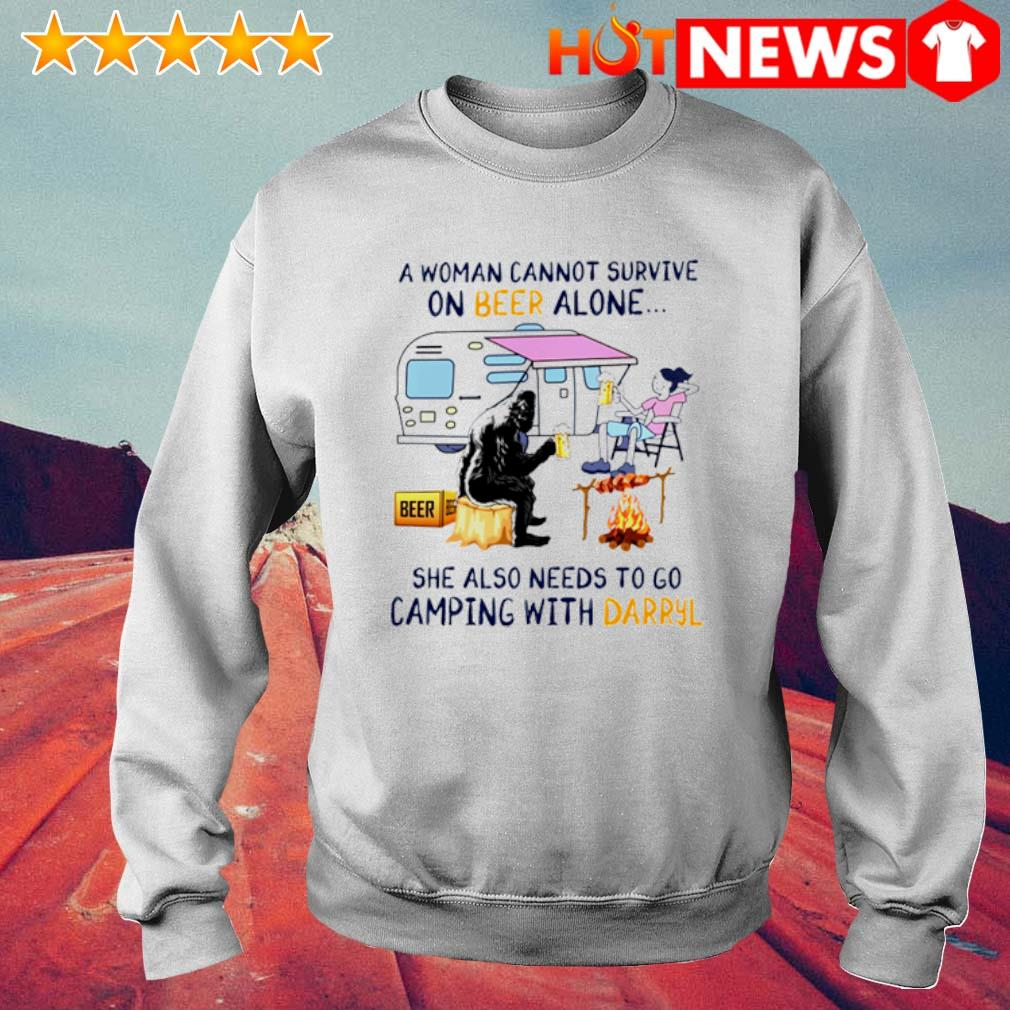 A woman cannot survive on beer alone she also needs to go camping with Darryl s 6 HNT Sweat White