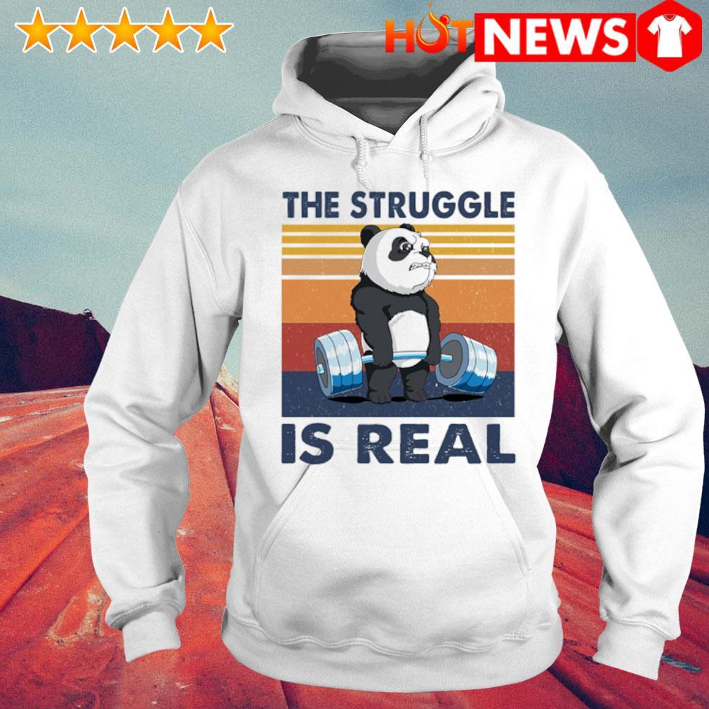 Panda the struggle is real vintage s 6 HNT Hoodie White