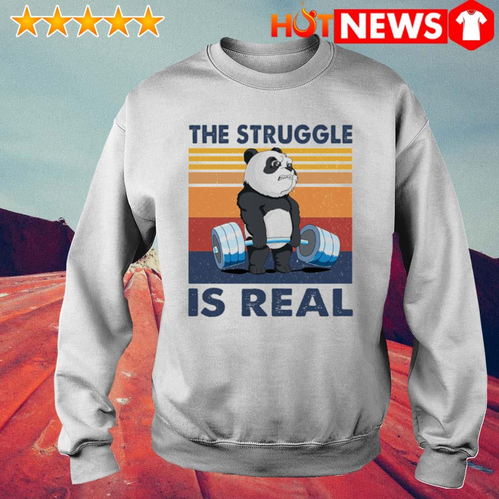 Panda the struggle is real vintage s 6 HNT Sweat White