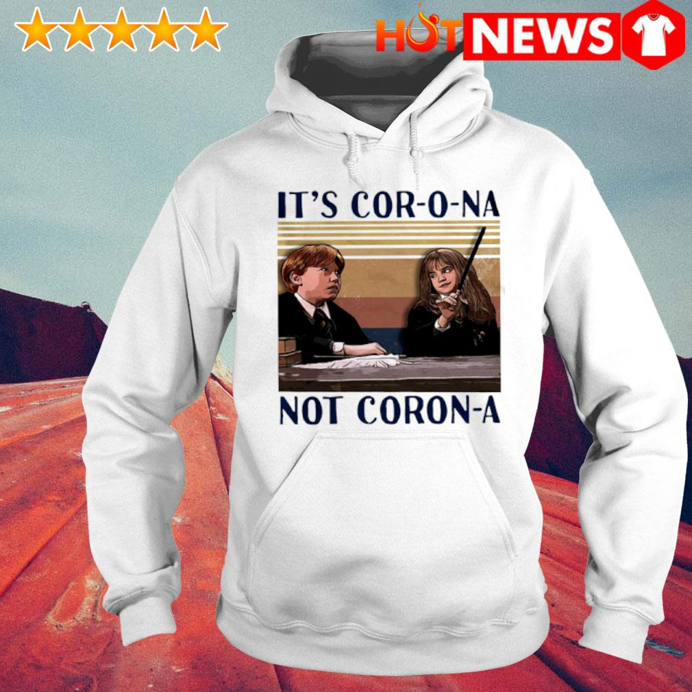 Ron Weasley and Hermione Granger it's cor-o-na not coron-a vintage s 6 HNT Hoodie White