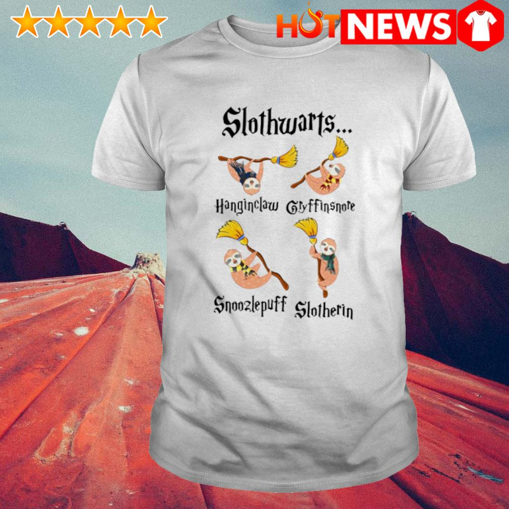 Slothwarts hangin claw gryffin snore snoozle puff slotherin shirt
