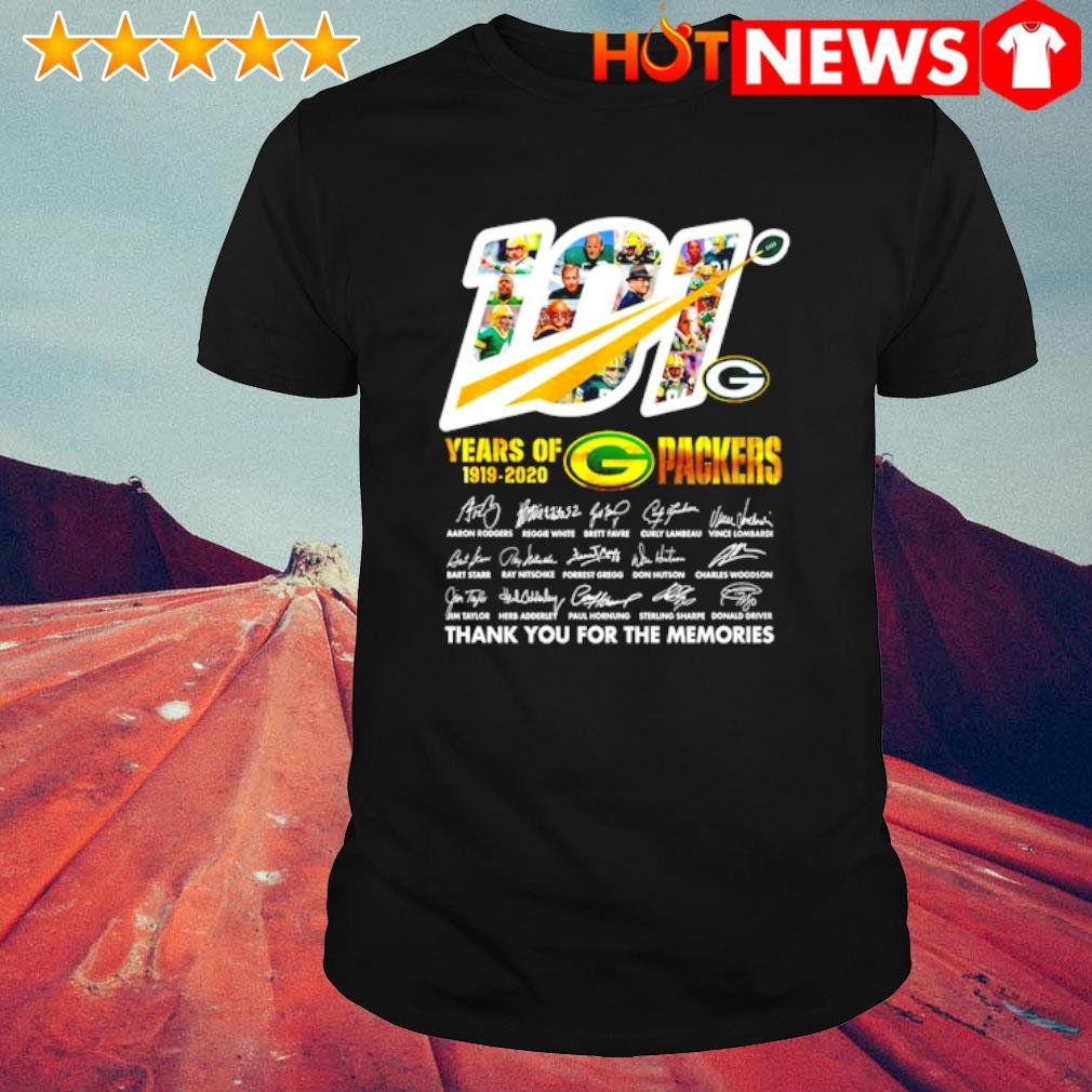101 years of 1919 2020 Packers thank you for the memories shirt