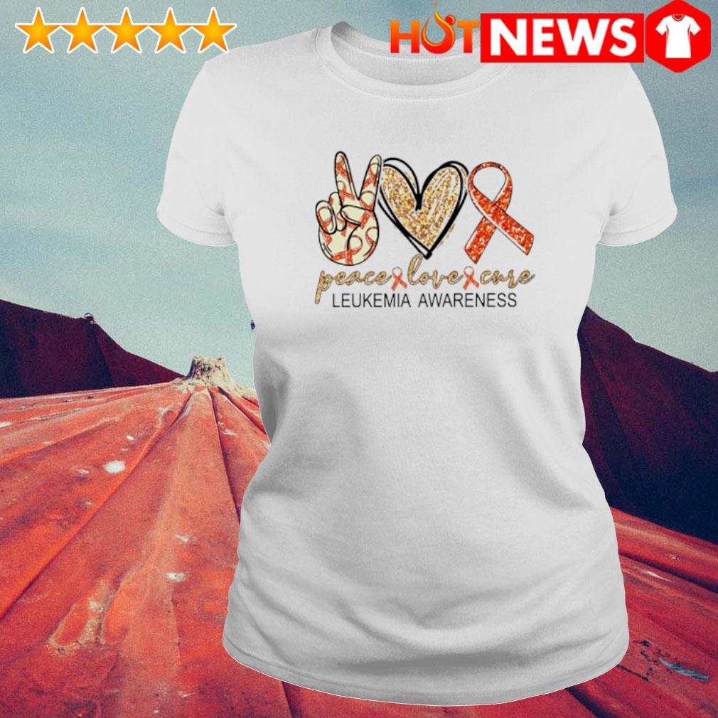 Peace love cure Leukemia Awareness s 6 HNT Ladie White