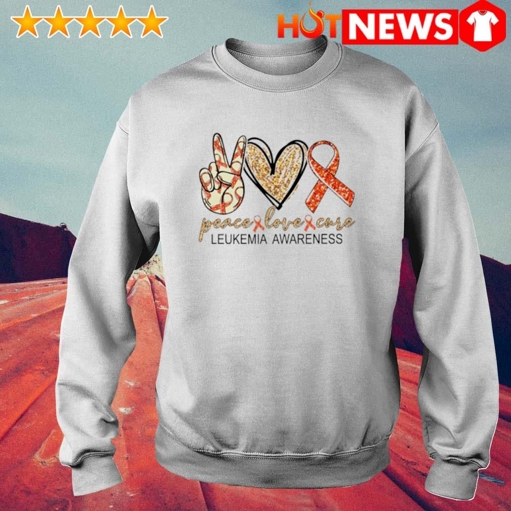 Peace love cure Leukemia Awareness s 6 HNT Sweat White