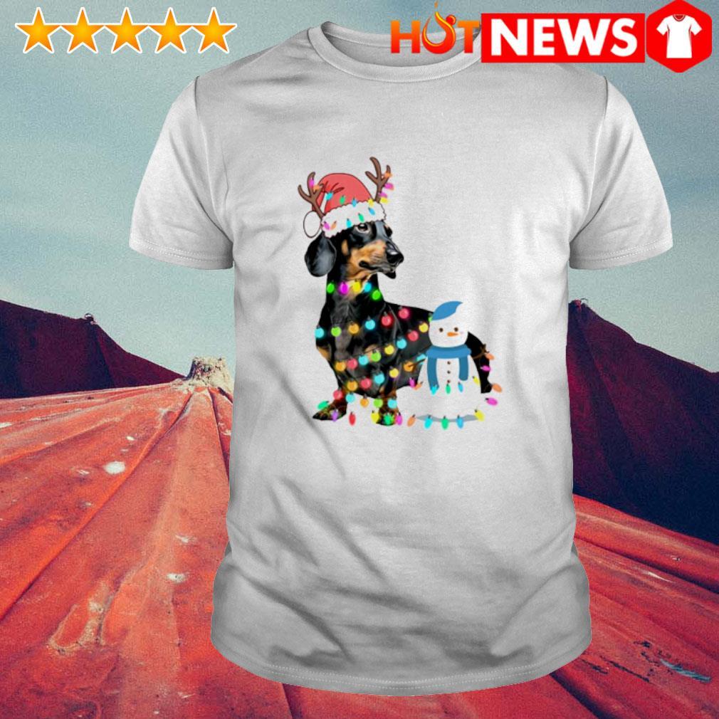 Santa Reindeer Dachshund and Snowman Christmas light shirt