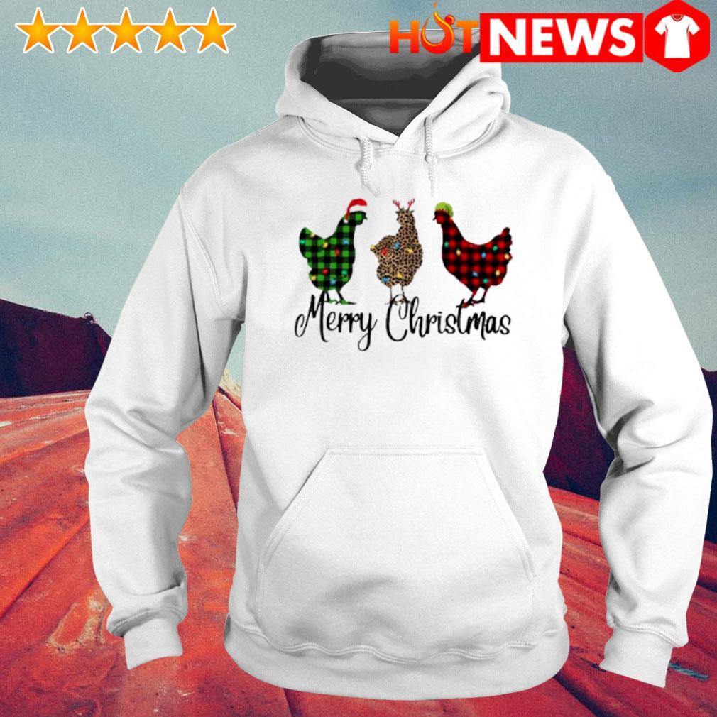 Santa Reindeer Elf three hens Merry Christmas s 6 HNT Hoodie White