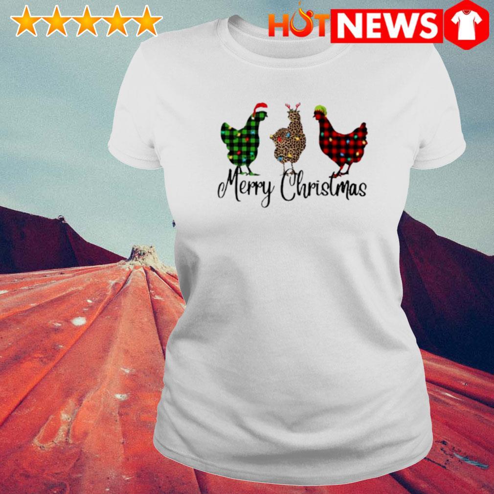 Santa Reindeer Elf three hens Merry Christmas s 6 HNT Ladie White