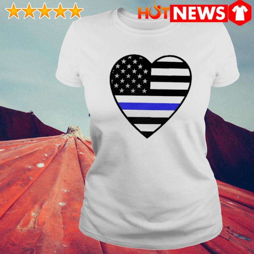 Heart Thin Blue Line s 6 HNT Ladie White