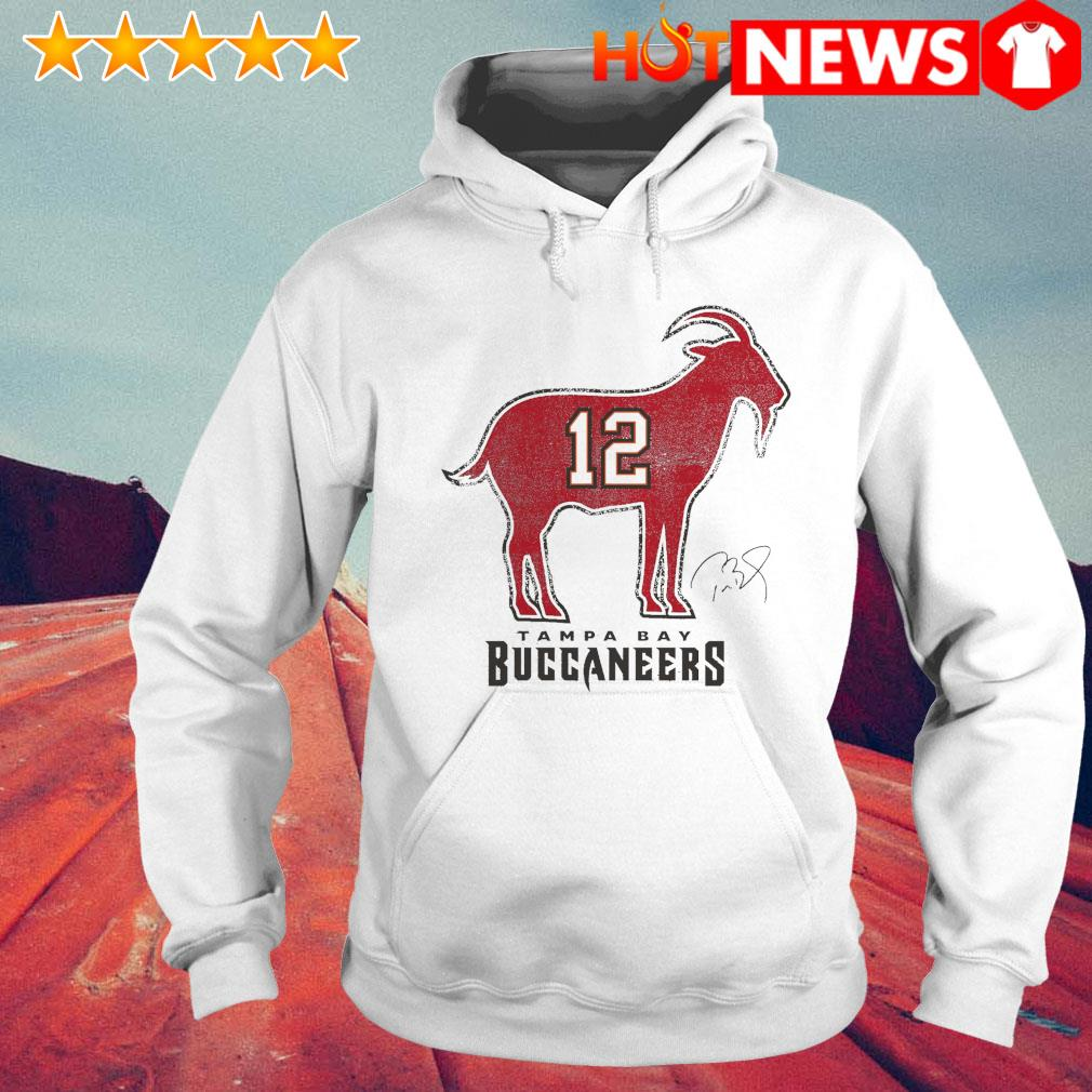 Tom Brady 12 Tampa Bay Buccaneers The Goat s 6 HNT Hoodie White
